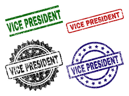 VICE PRESIDENT seal prints with corroded texture. Black, green,red,blue vector rubber prints of VICE PRESIDENT text with scratched style. Rubber seals with round, rectangle, medal shapes.