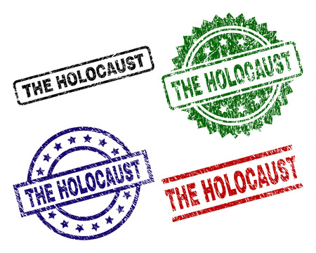 THE HOLOCAUST seal prints with damaged surface. Black, green,red,blue vector rubber prints of THE HOLOCAUST label with retro surface. Rubber seals with round, rectangle, rosette shapes. Illustration