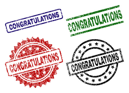 CONGRATULATIONS seal prints with distress style. Black, green,red,blue vector rubber prints of CONGRATULATIONS label with grunge surface. Rubber seals with round, rectangle, medallion shapes. Stock Illustratie