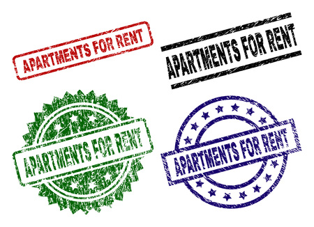 APARTMENTS FOR RENT seal prints with damaged style. Black, green,red,blue vector rubber prints of APARTMENTS FOR RENT caption with corroded style. Rubber seals with circle, rectangle, medal shapes.