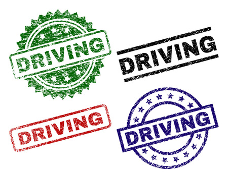DRIVING seal prints with corroded texture. Black, green,red,blue vector rubber prints of DRIVING label with corroded texture. Rubber seals with circle, rectangle, medal shapes. Illustration
