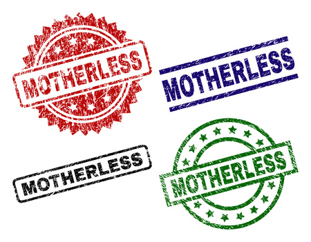 MOTHERLESS seal stamps with corroded style. Black, green,red,blue vector rubber prints of MOTHERLESS text with dust style. Rubber seals with round, rectangle, medallion shapes.