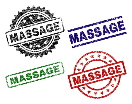 MASSAGE seal prints with corroded style. Black, green,red,blue vector rubber prints of MASSAGE label with corroded style. Rubber seals with circle, rectangle, rosette shapes. Ilustração