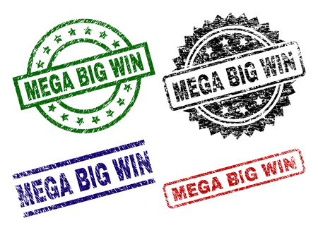 MEGA BIG WIN seal prints with distress surface. Black, green,red,blue vector rubber prints of MEGA BIG WIN text with dirty surface. Rubber seals with circle, rectangle, medallion shapes. Çizim