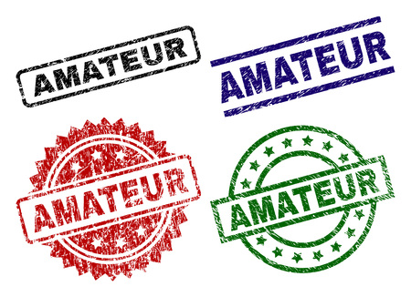 AMATEUR seal prints with damaged style. Black, green,red,blue vector rubber prints of AMATEUR caption with grunge style. Rubber seals with round, rectangle, medallion shapes.