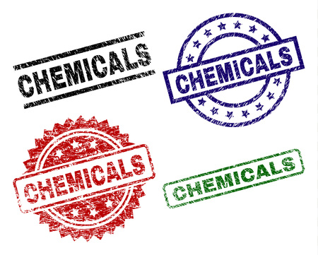 CHEMICALS seal prints with corroded texture. Black, green,red,blue vector rubber prints of CHEMICALS text with grunge texture. Rubber seals with round, rectangle, medal shapes.