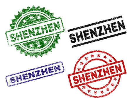 SHENZHEN seal prints with corroded style. Black, green,red,blue vector rubber prints of SHENZHEN text with corroded style. Rubber seals with round, rectangle, medal shapes.
