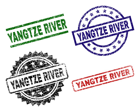YANGTZE RIVER seal prints with distress texture. Black, green,red,blue vector rubber prints of YANGTZE RIVER caption with dirty style. Rubber seals with circle, rectangle, medallion shapes.