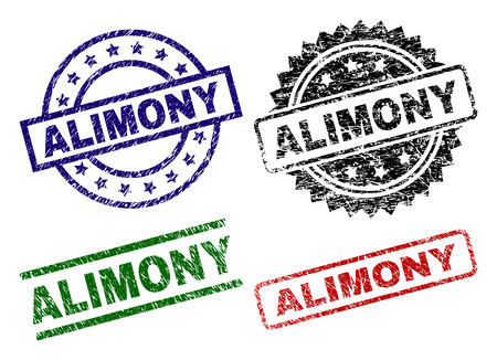 ALIMONY seal prints with corroded surface. Black, green,red,blue vector rubber prints of ALIMONY label with dust surface. Rubber seals with round, rectangle, medal shapes.