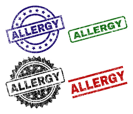 ALLERGY seal prints with distress style. Black, green,red,blue vector rubber prints of ALLERGY caption with corroded style. Rubber seals with circle, rectangle, medallion shapes.
