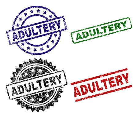 ADULTERY seal prints with corroded style. Black, green,red,blue vector rubber prints of ADULTERY title with unclean style. Rubber seals with round, rectangle, rosette shapes.