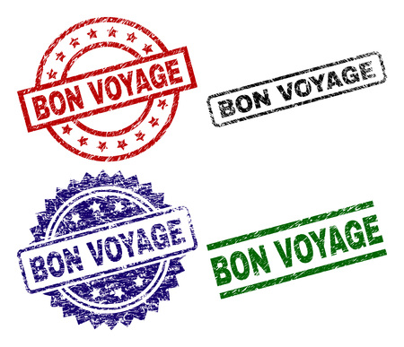 BON VOYAGE seal prints with damaged surface. Black, green,red,blue vector rubber prints of BON VOYAGE label with dust surface. Rubber seals with circle, rectangle, medallion shapes.