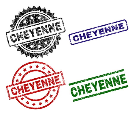CHEYENNE seal prints with corroded surface. Black, green,red,blue vector rubber prints of CHEYENNE text with retro surface. Rubber seals with round, rectangle, medallion shapes. Illustration