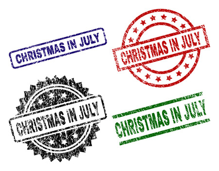 CHRISTMAS IN JULY seal prints with damaged style. Black, green,red,blue vector rubber prints of CHRISTMAS IN JULY label with retro texture. Rubber seals with round, rectangle, rosette shapes.