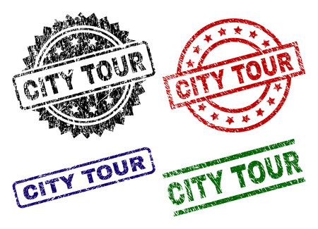CITY TOUR seal prints with damaged texture. Black, green,red,blue vector rubber prints of CITY TOUR text with corroded texture. Rubber seals with round, rectangle, rosette shapes. Stock Illustratie
