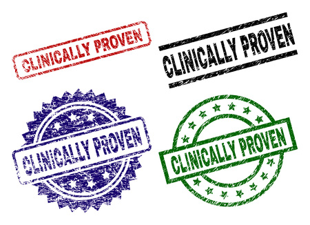 CLINICALLY PROVEN seal prints with distress surface. Black, green,red,blue vector rubber prints of CLINICALLY PROVEN text with scratched surface. Rubber seals with circle, rectangle, rosette shapes.