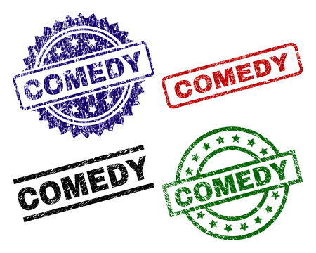COMEDY seal stamps with corroded style. Black, green,red,blue vector rubber prints of COMEDY title with corroded style. Rubber seals with circle, rectangle, medallion shapes.