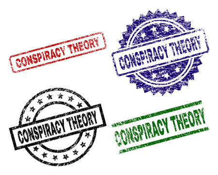 CONSPIRACY THEORY seal prints with distress texture. Black, green,red,blue vector rubber prints of CONSPIRACY THEORY tag with grunge surface. Rubber seals with round, rectangle, medallion shapes.
