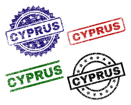 CYPRUS seal prints with distress surface. Black, green,red,blue vector rubber prints of CYPRUS title with unclean surface. Rubber seals with round, rectangle, medallion shapes.