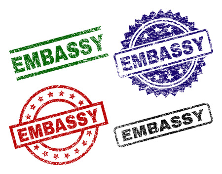 EMBASSY seal prints with corroded style. Black, green,red,blue vector rubber prints of EMBASSY caption with unclean surface. Rubber seals with circle, rectangle, rosette shapes.