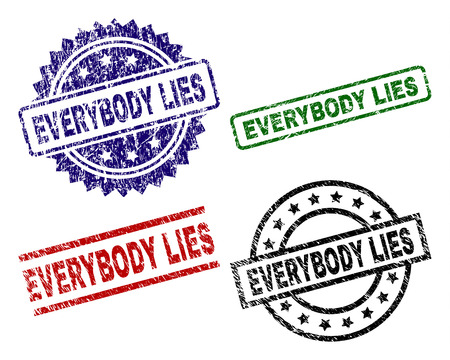 EVERYBODY LIES seal prints with corroded texture. Black, green,red,blue vector rubber prints of EVERYBODY LIES caption with retro texture. Rubber seals with round, rectangle, medallion shapes.