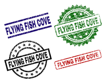 FLYING FISH COVE seal prints with damaged style. Black, green,red,blue vector rubber prints of FLYING FISH COVE caption with dirty style. Rubber seals with circle, rectangle, medallion shapes.