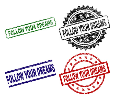 FOLLOW YOUR DREAMS seal prints with damaged texture. Black, green,red,blue vector rubber prints of FOLLOW YOUR DREAMS title with corroded surface. Rubber seals with round, rectangle, medal shapes. Illustration
