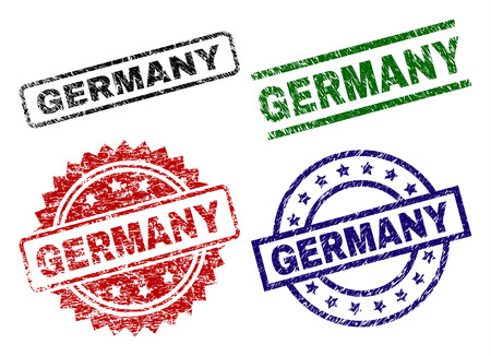 GERMANY seal prints with corroded style. Black, green,red,blue vector rubber prints of GERMANY text with dust surface. Rubber seals with circle, rectangle, rosette shapes. Standard-Bild - 110330461
