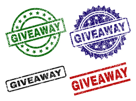 GIVEAWAY seal prints with distress style. Black, green,red,blue vector rubber prints of GIVEAWAY tag with dirty style. Rubber seals with circle, rectangle, medallion shapes.