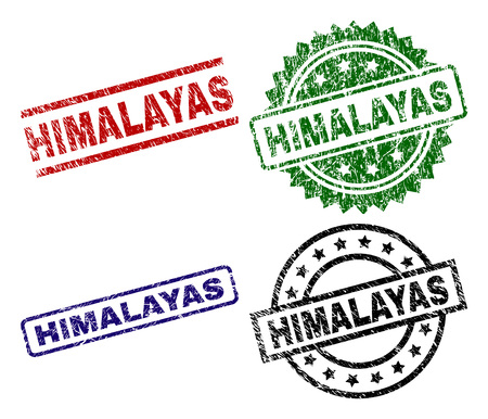 HIMALAYAS seal prints with distress surface. Black, green,red,blue vector rubber prints of HIMALAYAS caption with dirty surface. Rubber seals with circle, rectangle, rosette shapes.