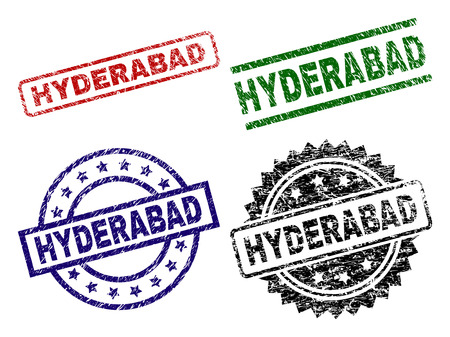 HYDERABAD seal prints with corroded style. Black, green,red,blue vector rubber prints of HYDERABAD caption with corroded surface. Rubber seals with round, rectangle, medallion shapes.