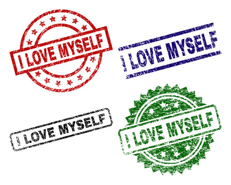 I LOVE MYSELF seal prints with corroded texture. Black, green,red,blue vector rubber prints of I LOVE MYSELF tag with corroded texture. Rubber seals with round, rectangle, medallion shapes.