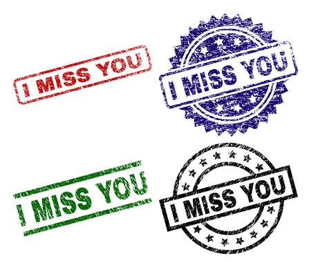 I MISS YOU seal prints with corroded surface. Black, green,red,blue vector rubber prints of I MISS YOU tag with corroded style. Rubber seals with round, rectangle, medallion shapes.