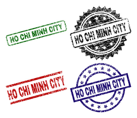 HO CHI MINH CITY seal prints with distress surface. Black, green,red,blue vector rubber prints of HO CHI MINH CITY tag with scratched surface. Rubber seals with round, rectangle, rosette shapes.