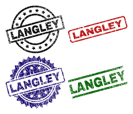 LANGLEY seal prints with corroded texture. Black, green,red,blue vector rubber prints of LANGLEY title with corroded style. Rubber seals with round, rectangle, medallion shapes. Ilustração
