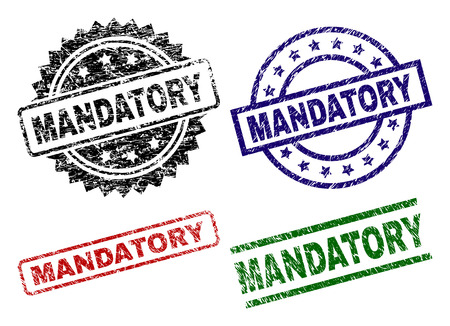 MANDATORY seal stamps with corroded texture. Black, green,red,blue vector rubber prints of MANDATORY label with corroded style. Rubber seals with round, rectangle, medallion shapes. Vetores