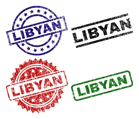 LIBYAN seal prints with corroded texture. Black, green,red,blue vector rubber prints of LIBYAN title with corroded texture. Rubber seals with round, rectangle, rosette shapes.