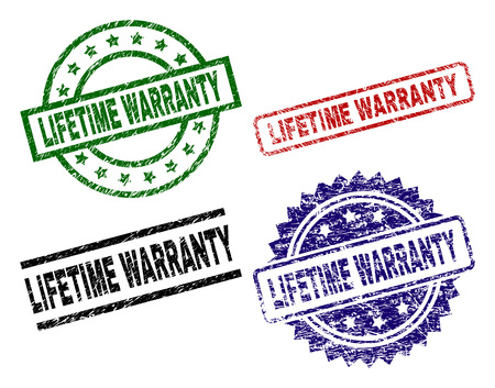 LIFETIME WARRANTY seal stamps with damaged texture. Black, green,red,blue vector rubber prints of LIFETIME WARRANTY tag with corroded texture. Rubber seals with circle, rectangle, medal shapes. Illustration