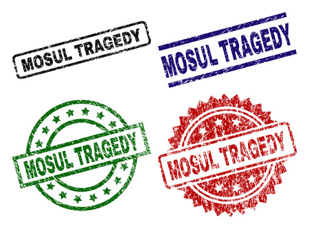MOSUL TRAGEDY seal prints with damaged surface. Black, green,red,blue vector rubber prints of MOSUL TRAGEDY title with scratched surface. Rubber seals with circle, rectangle, rosette shapes.