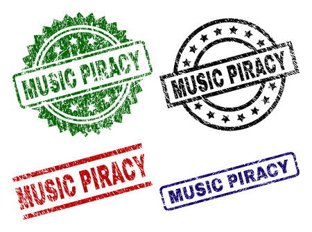 MUSIC PIRACY seal prints with damaged surface. Black, green,red,blue vector rubber prints of MUSIC PIRACY tag with dirty surface. Rubber seals with round, rectangle, medal shapes.