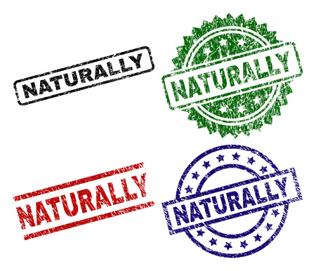 NATURALLY seal stamps with distress texture. Black, green,red,blue vector rubber prints of NATURALLY label with dust texture. Rubber seals with circle, rectangle, medallion shapes.