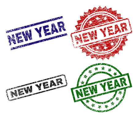 NEW YEAR seal prints with corroded texture. Black, green,red,blue vector rubber prints of NEW YEAR caption with corroded style. Rubber seals with round, rectangle, rosette shapes.