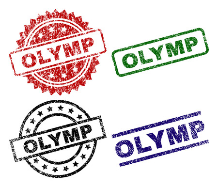 OLYMP seal stamps with corroded texture. Black, green,red,blue vector rubber prints of OLYMP label with corroded texture. Rubber seals with round, rectangle, medal shapes.