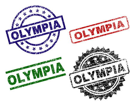 OLYMPIA seal prints with distress surface. Black, green,red,blue vector rubber prints of OLYMPIA label with retro surface. Rubber seals with circle, rectangle, medallion shapes.