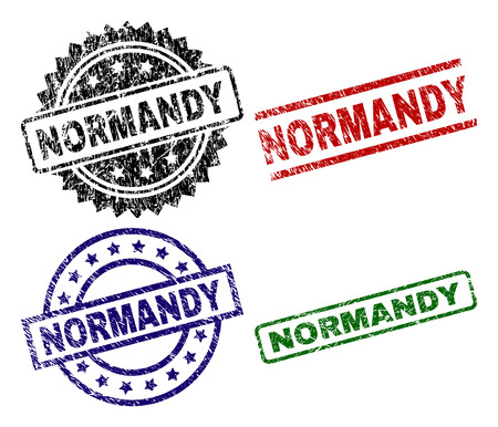 NORMANDY seal prints with corroded texture. Black, green,red,blue vector rubber prints of NORMANDY title with corroded texture. Rubber seals with round, rectangle, rosette shapes. Illustration