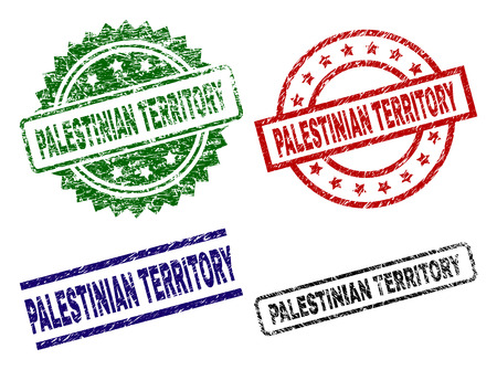PALESTINIAN TERRITORY seal imprints with corroded style. Black, green,red,blue vector rubber prints of PALESTINIAN TERRITORY text with corroded style. Rubber seals with round, rectangle, medal shapes. Ilustração