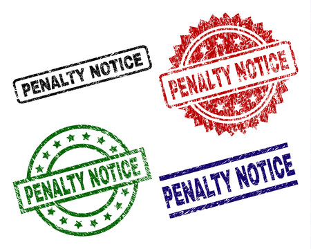 PENALTY NOTICE seal prints with corroded style. Black, green,red,blue vector rubber prints of PENALTY NOTICE tag with unclean style. Rubber seals with circle, rectangle, medal shapes.