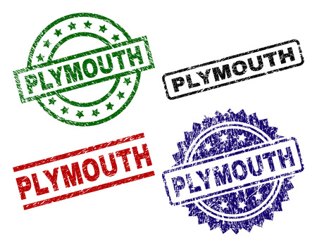 PLYMOUTH seal prints with corroded style. Black, green,red,blue vector rubber prints of PLYMOUTH text with corroded style. Rubber seals with round, rectangle, rosette shapes. Illustration