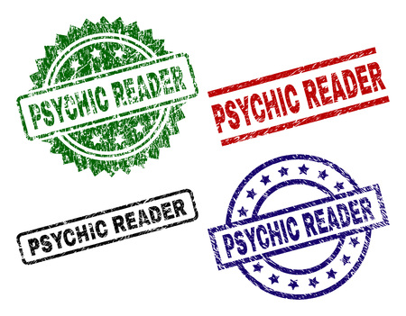 PSYCHIC READER seal prints with corroded style. Black, green,red,blue vector rubber prints of PSYCHIC READER caption with grunge style. Rubber seals with circle, rectangle, rosette shapes. Stock Illustratie