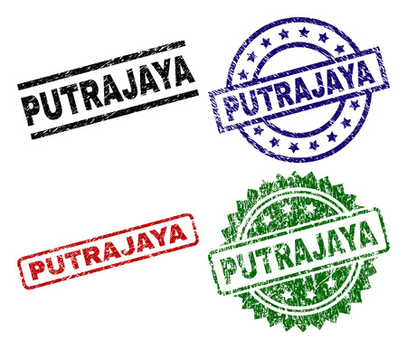 PUTRAJAYA seal prints with corroded style. Black, green,red,blue vector rubber prints of PUTRAJAYA caption with dust style. Rubber seals with circle, rectangle, medallion shapes.